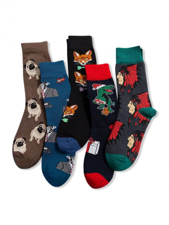 shops 5Pairs Cartoon Animal Pattern Socks Set - MULTI-A