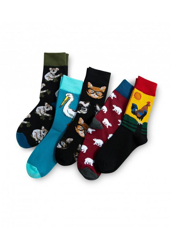 fashion 5Pairs Cartoon Animal Print Socks Set - MULTI-A
