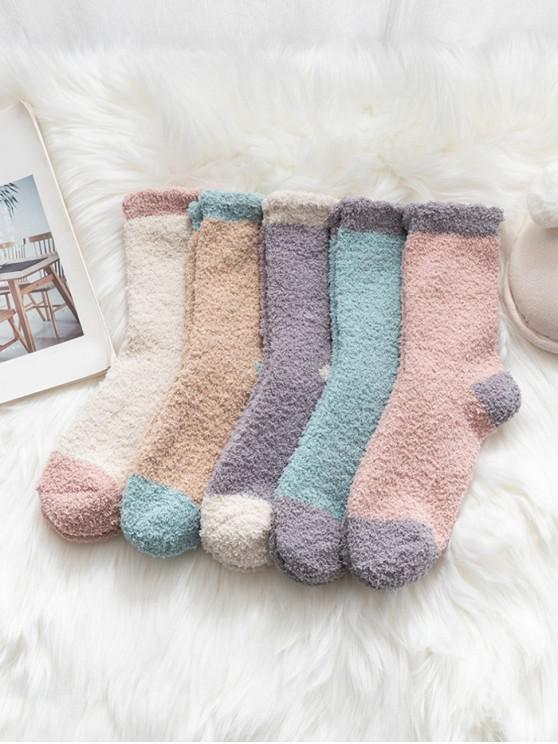 unique 5Pairs Indoor Colorblock Fleece Socks Set - MULTI-A