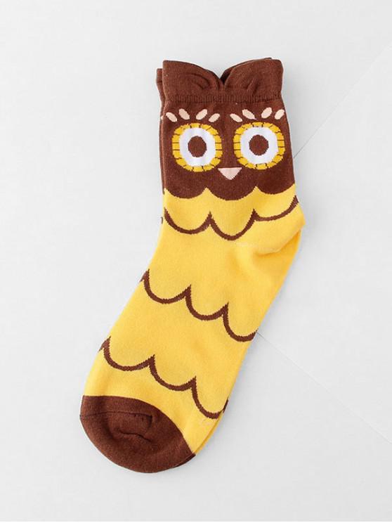new Winter Owl Cartoon Quarter Socks - RUBBER DUCKY YELLOW