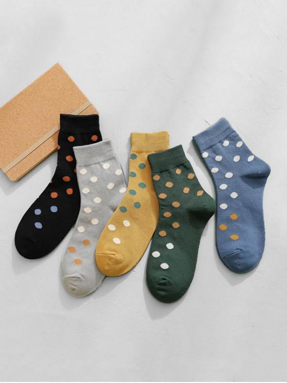 shop 5Pairs Polka Dot Pattern Socks Set - MULTI-A