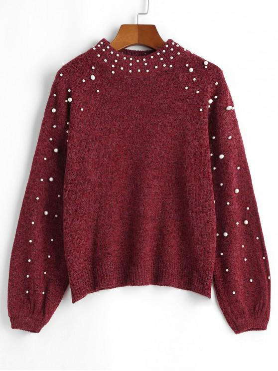 buy Mock Neck Faux Pearls Lantern Sleeve Jumper Sweater - RED M