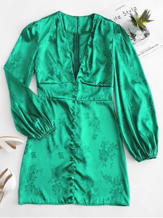 women's Satin Jacquard Lantern Sleeve Plunge Dress - GREEN M