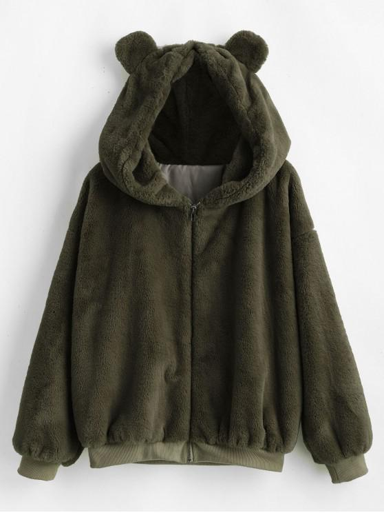 women's ZAFUL Bear Ear Drop Shoulder Faux Fur Coat - ARMY GREEN M