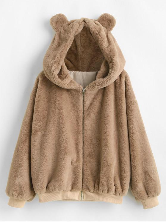 best ZAFUL Bear Ear Drop Shoulder Faux Fur Coat - CAMEL BROWN XL