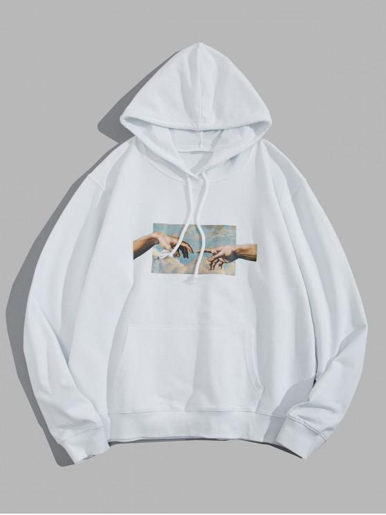 women Hands Graphic Kangaroo Pocket Cotton Pullover Hoodie - WHITE M