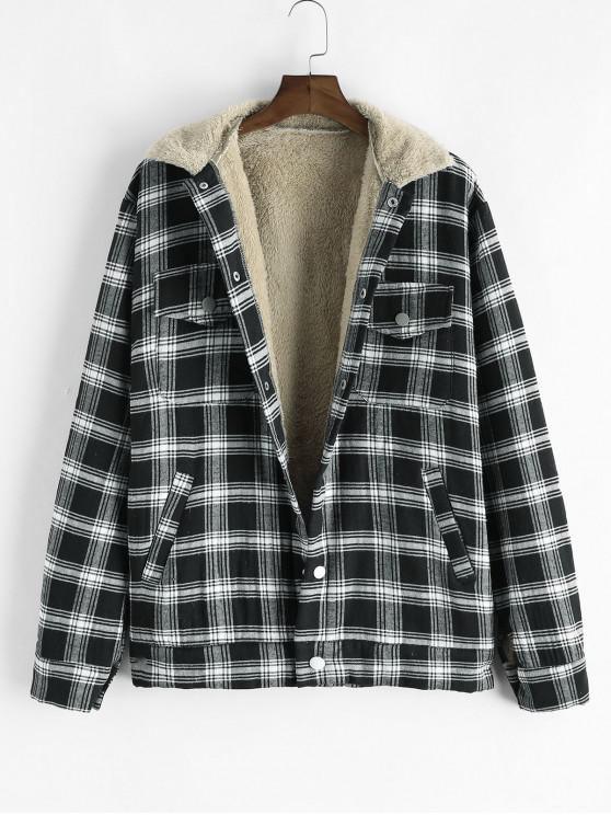 buy Plaid Pattern Button Pocket Fluffy Jacket - BLACK 2XL
