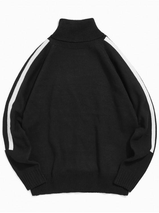 shop Turtleneck Contrast Striped Raglan Sleeve Sweater - BLACK S