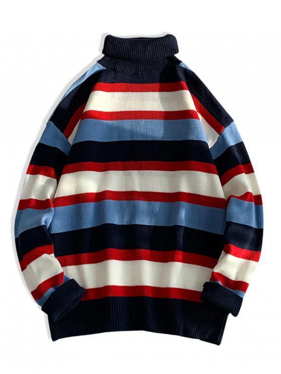 latest Turtleneck Color-blocking Drop Shoulder Sweater - RED M