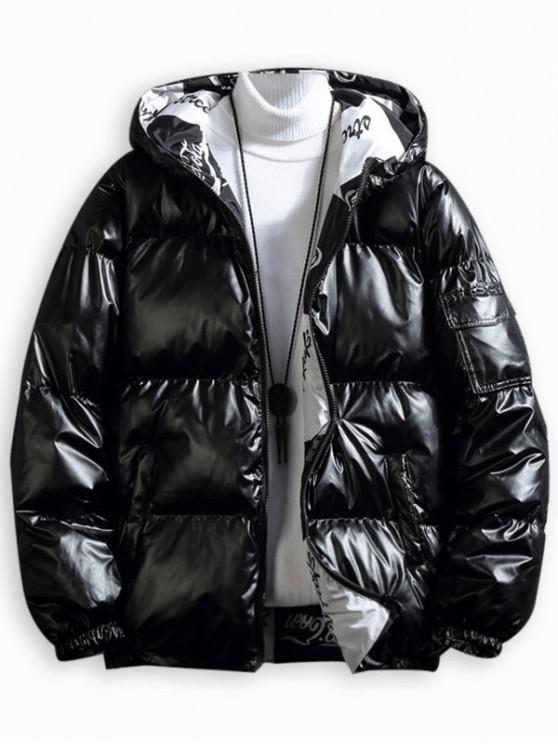 lady Solid Color Zip Up Puffer Coat - BLACK 4XL