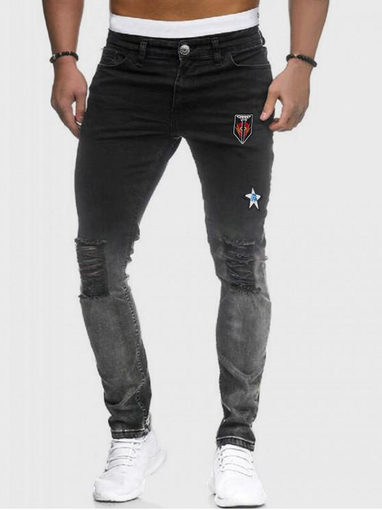 outfit Embroidery Design Ripped Zipper Fly Jeans - BLACK 2XL