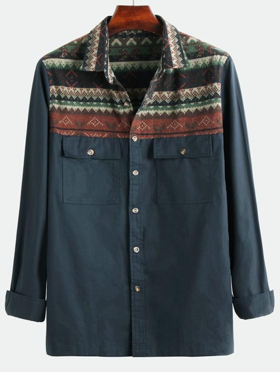 unique Tribal Geometric Print Spliced Pocket Button Up Shirt - MIDNIGHT BLUE 3XL