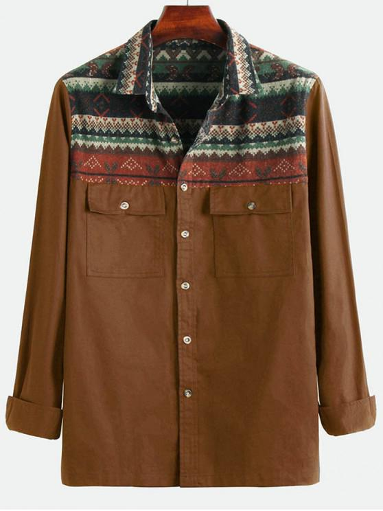 online Tribal Geometric Print Spliced Pocket Button Up Shirt - COFFEE 3XL