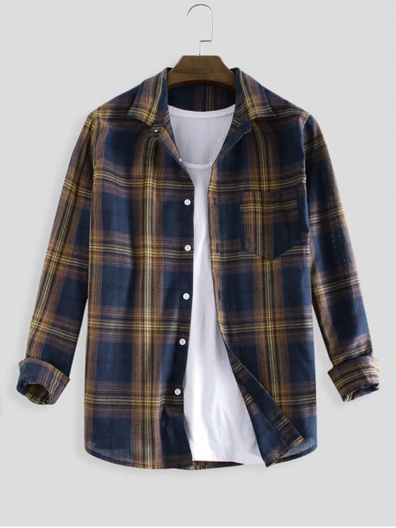 affordable Plaid Print Pocket Button Long Sleeve Shirt - MULTI-B L