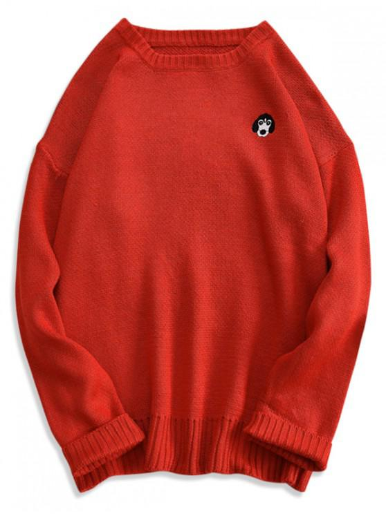 ladies Puppy Embroidery Drop Shoulder Pullover Sweater - RED L