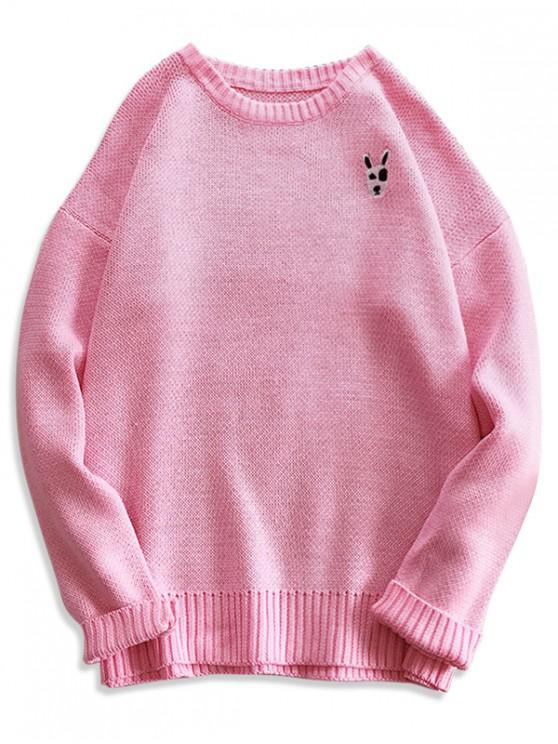 trendy Puppy Embroidery Drop Shoulder Pullover Sweater - PINK M