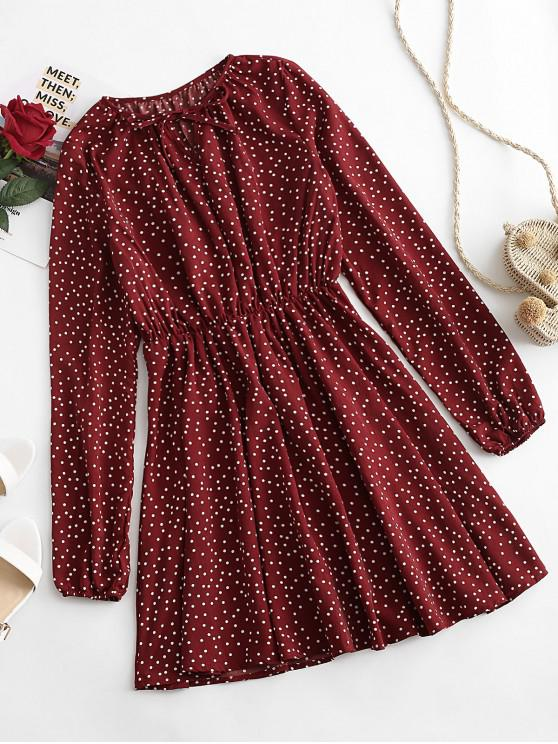 unique Polka Dot Tied A Line Dress - RED WINE M