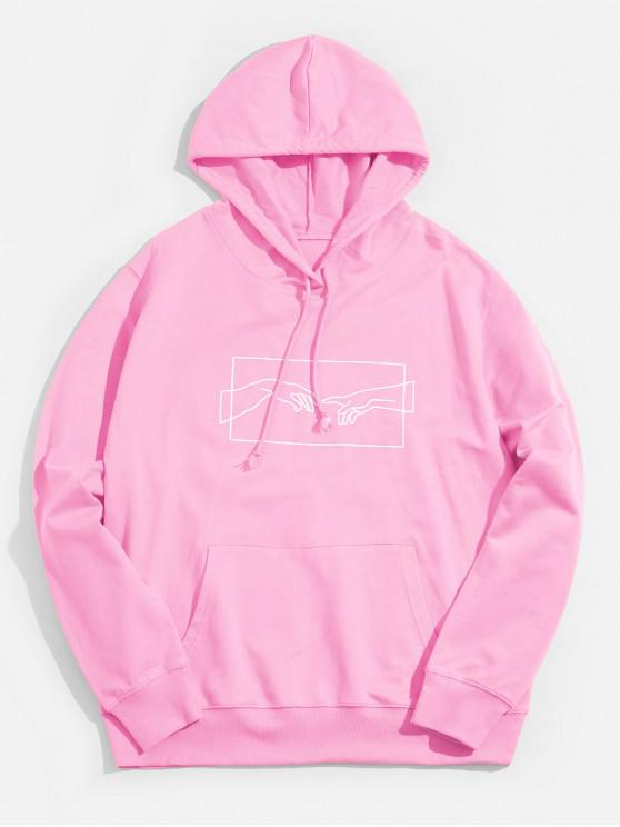 affordable Sketch Hands Graphic Pouch Pocket Drawstring Hoodie - PINK S
