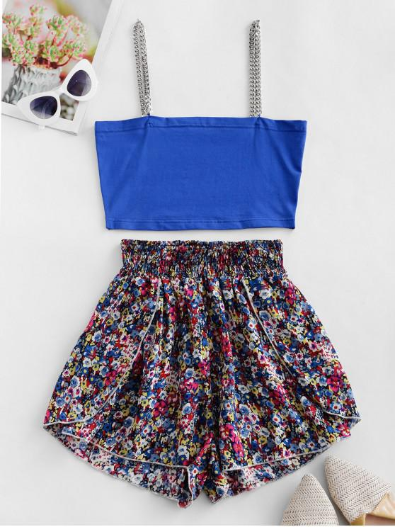 outfit ZAFUL Contrast Painting Floral Smocked Waisted Two Piece Set - BLUE L