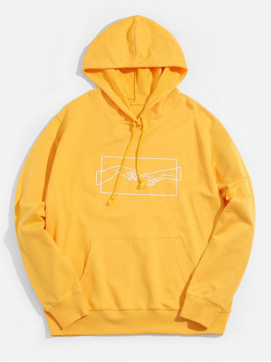 fashion Sketch Hands Graphic Pouch Pocket Drawstring Hoodie - YELLOW S