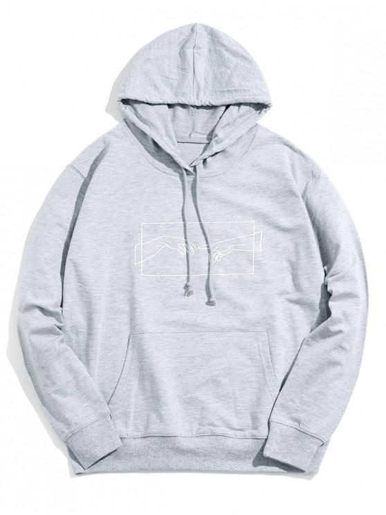 buy Sketch Hands Graphic Pouch Pocket Drawstring Hoodie - GRAY M