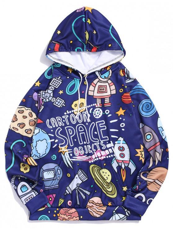 buy Cartoon Space Objects Print Drawstring Fleece Hoodie - MIDNIGHT BLUE L