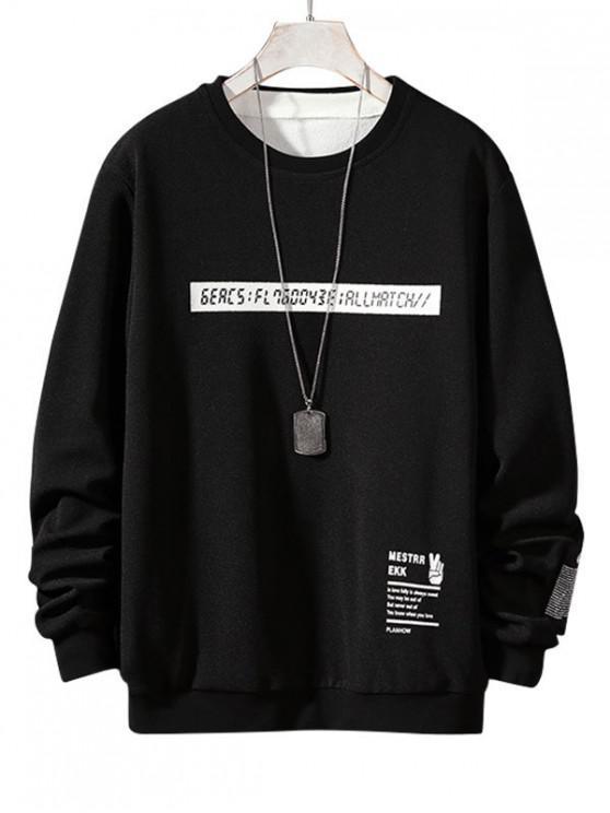 trendy Letter Graphic Print Applique Crew Neck Sweatshirt - BLACK M