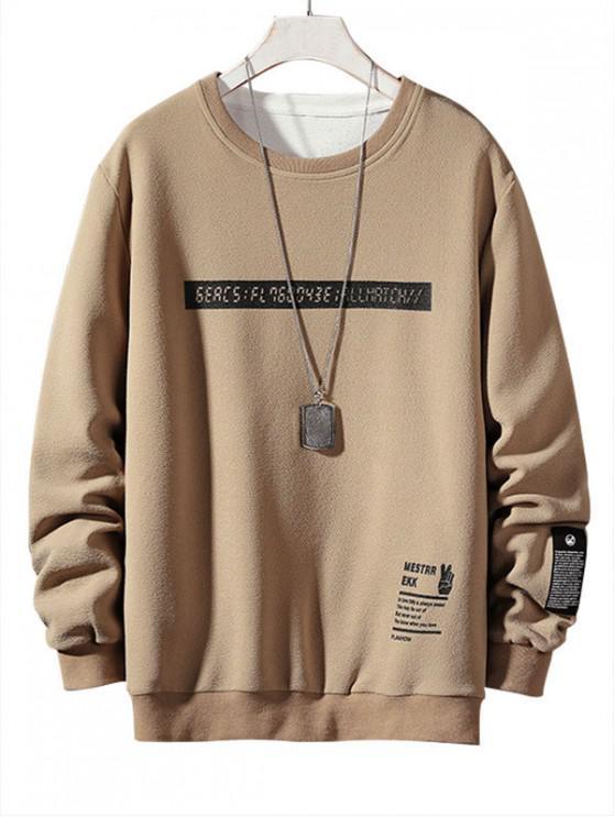 affordable Letter Graphic Print Applique Crew Neck Sweatshirt - LIGHT KHAKI L