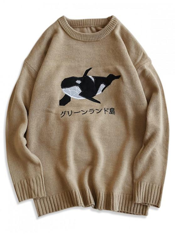 buy Dolphin Embroidery Crew Neck Casual Sweater - KHAKI 2XL
