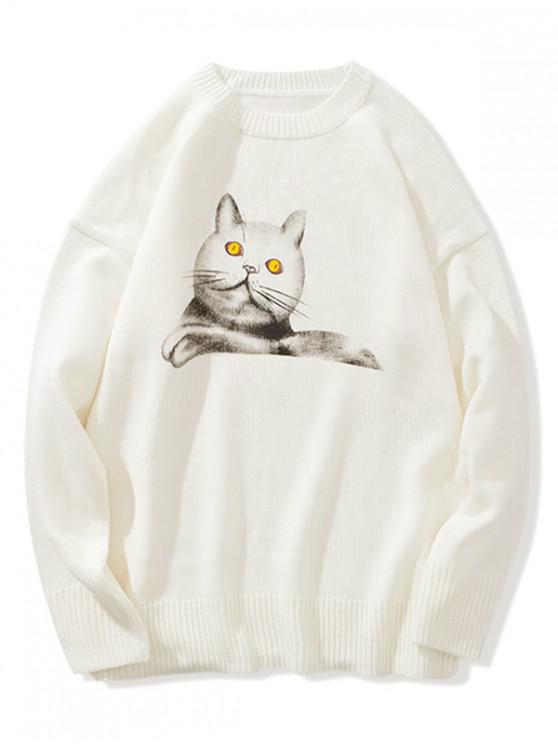 online Cat Print Crew Neck Pullover Sweater - WHITE XL