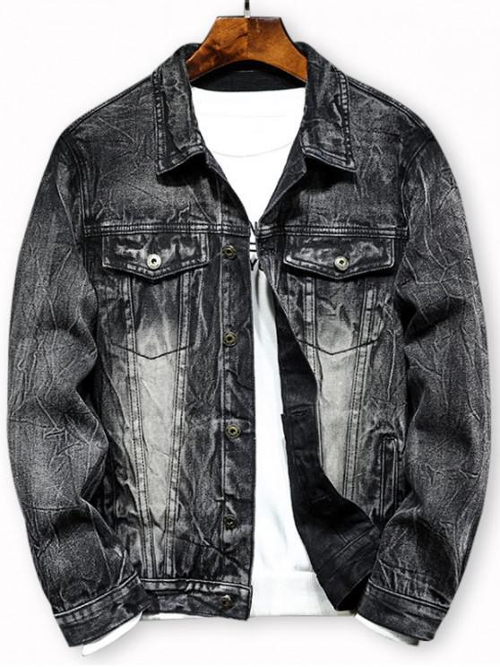 new Double Pocket Button Design Denim Jacket - BLACK L