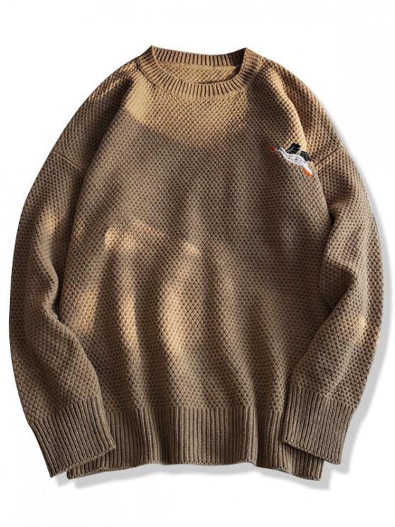 latest Pigeon Embroidery Crew Neck Lounge Sweater - KHAKI M
