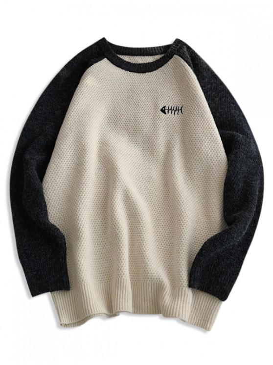 online Animal Embroidery Contrast Raglan Sleeve Sweater - WHITE XS