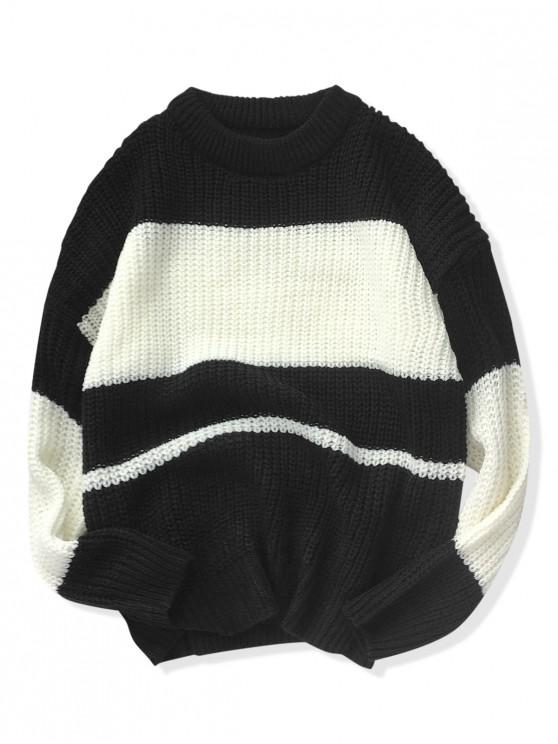 unique Contrast Color Drop Shoulder Open Knit Sweater - BLACK L