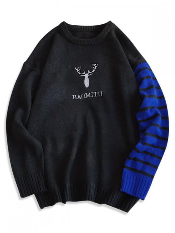 affordable Deer Graphic Striped Drop Shoulder Sweater - BLACK M