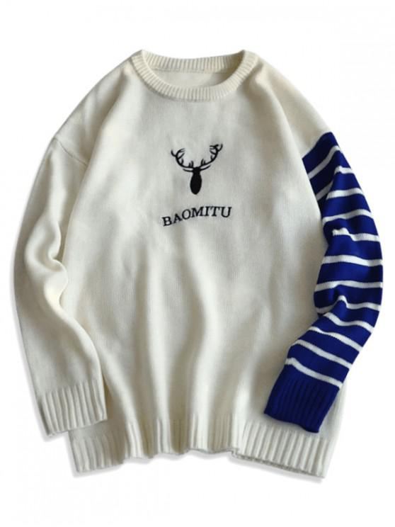 shops Deer Graphic Striped Drop Shoulder Sweater - WHITE S