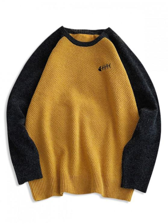 fancy Animal Embroidery Contrast Raglan Sleeve Sweater - YELLOW M