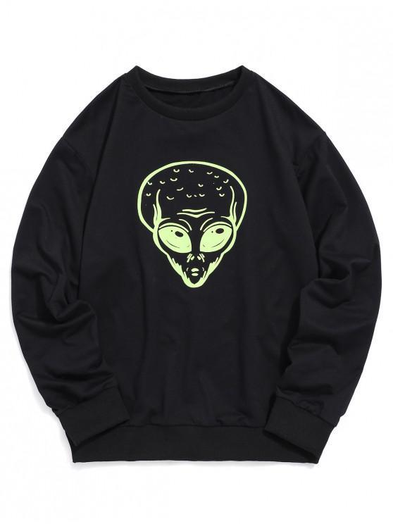 online Crew Neck Alien Graphic Print Sweatshirt - BLACK M
