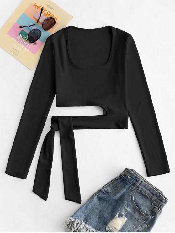 shops U Neck Tie Hem Crop T-shirt - BLACK M