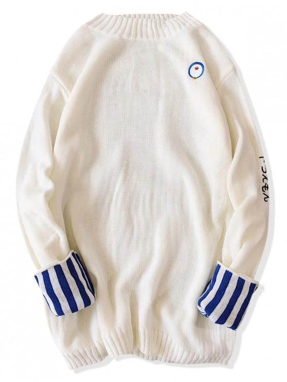 fashion Striped Cuff Mock Neck Oriental Sweater - WHITE M