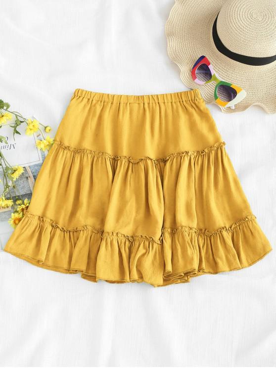 ladies Frilled Ruffles Skirt - YELLOW M