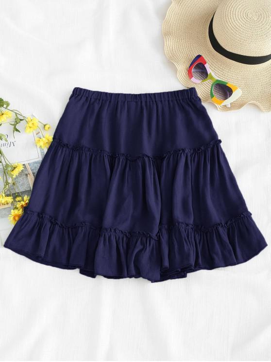 hot Frilled Ruffles Skirt - LAPIS BLUE M