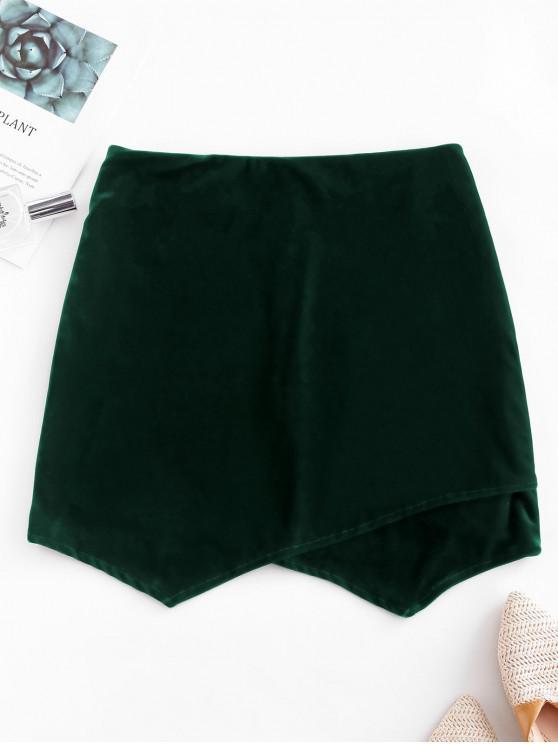 women's Overlap Back Zipper Velvet Mini Skirt - GREEN S