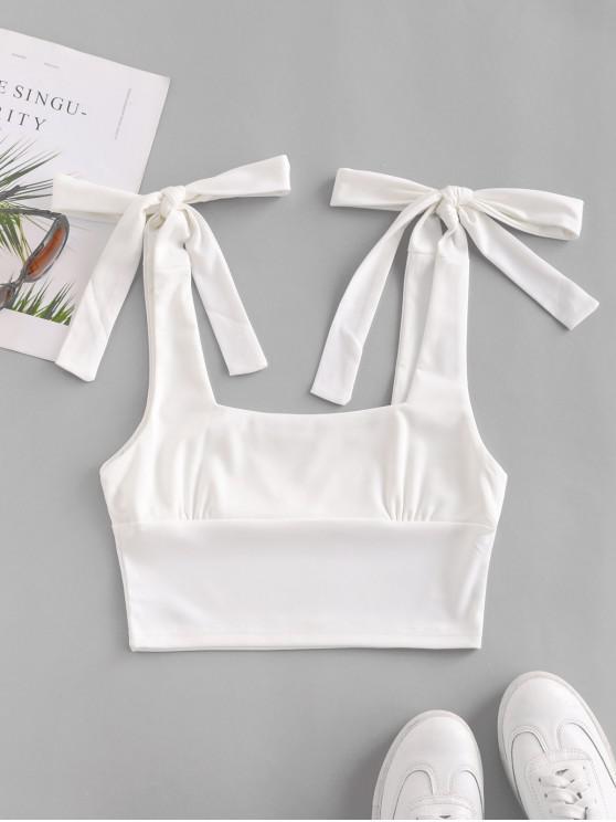 ladies Solid Tie Shoulder Crop Top - WHITE L