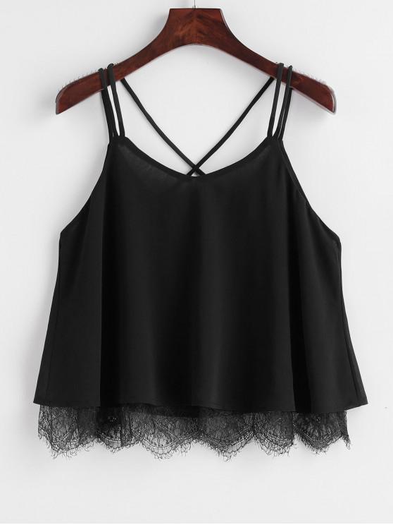 fancy Strappy Chiffon Lace Trim Top - BLACK L