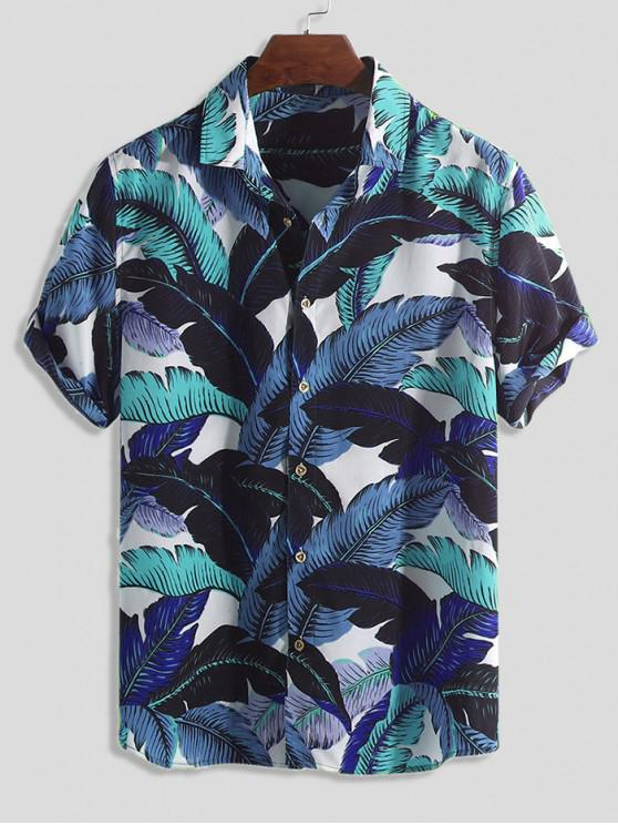 outfits Tropical Leaf Print Button Vacation Shirt - MULTI-B XL