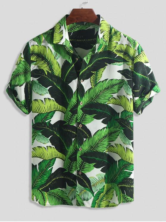 online Tropical Leaf Print Button Vacation Shirt - MULTI-A 2XL