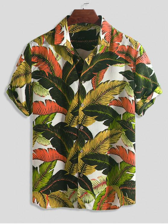 shop Tropical Leaf Print Button Vacation Shirt - MULTI-C L