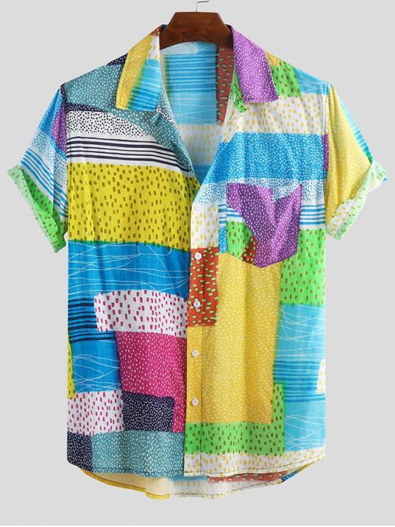 fancy Dots Spliced Print Pocket Short Sleeve Button Shirt - MULTI-A L