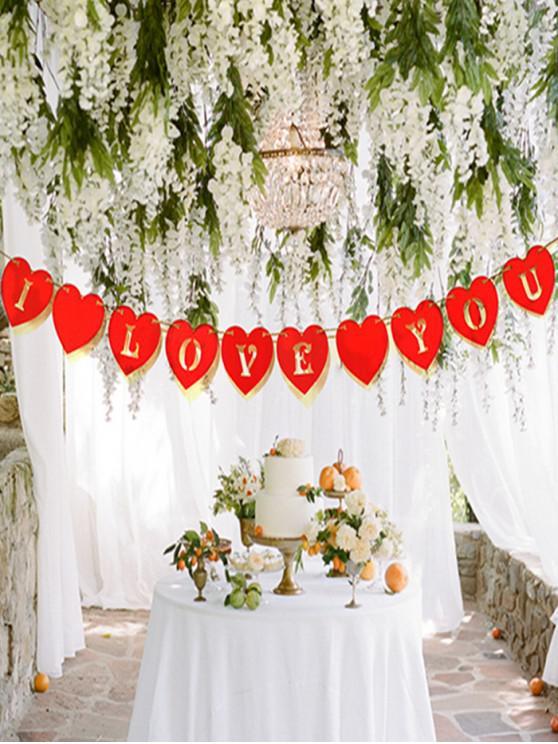 Patrón de San Valentín Día Te Amo Corazón Bandera del partido - Rojo